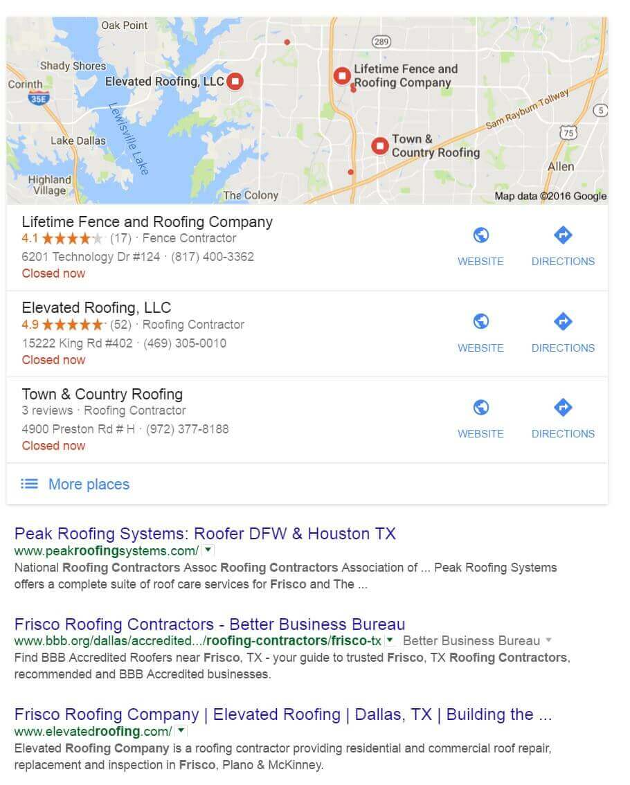 Roofers that use Search Engine Optimization get their listing in the map results.